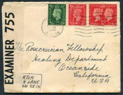 1941 GB Perfin Censor Cover - Oceanside, California, USA - 1902-1951 (Kings)