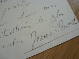Jeanne PROVOST (1887-1980) Actrice COMEDIE FRANCAISE - Autographe - Autographes