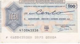 BILLETE DE ITALIA DE 100 LIRAS  INSTITUTO BANCARIO ITALIANO  (BANKNOTE) - [10] Cheques Y Mini-cheques