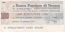 BILLETE DE ITALIA DE 100 LIRAS DE BANCA POPOLARE DI NOVARA (BANKNOTE) - [10] Cheques Y Mini-cheques