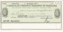 BILLETE DE ITALIA DE 100 LIRAS DE BANCA DE CREDITO AGRARIO DI FERRARA (BANKNOTE) - [10] Assegni E Miniassegni