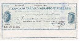 BILLETE DE ITALIA DE 200 LIRAS DE BANCA DE CREDITO AGRARIO DI FERRARA (BANKNOTE) - [10] Assegni E Miniassegni