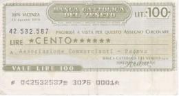 BILLETE DE ITALIA DE 100 LIRAS DE BANCA CATTOLICA DEL VENETO (BANKNOTE) - [10] Cheques Y Mini-cheques