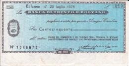 BILLETE DE ITALIA DE 150 LIRAS DE BANCA DI TRENTO E BOLZANO (BANKNOTE) - [10] Cheques Y Mini-cheques