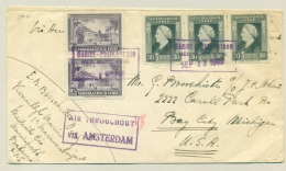 Nederlands Indië - 1948 - Marine Postkantoor / Ned. Marn. Brig. Op Cover Naar Bay City / USA - Air Throughout A'dam - Netherlands Indies
