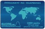 BELIZE - Blue World Map, Elcotel Telecard 1000 Units, Used - Belize