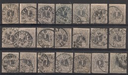 Nr 43  21x Nuances,Variateiten Oblit/gestp - Sammlungen