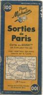CARTE-ROUTIERE-MICHELIN-N °100-1945-SORTIES De PARIS-BE-Quelques Plis Un Peu Coupées-5(-3/4cm) - Carte Stradali