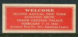 """1930 Second Annual New York Aviation Show Grand Central Palace Poster Stamp Vignette Label Never Hinged 2 3/8 X 1"""" - Cinderellas"""