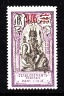 French India MH Scott #53 5c Red Surcharge On 15c Brahma - Neufs