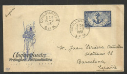 FRANCE YVERT 889 ON COVER TO BARCELONA 1951. - 1921-1960: Modern Period