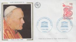 Enveloppe  Visite  Du  PAPE  JEAN  PAUL  II   UNESCO    PARIS   1980 - Popes