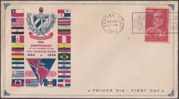 1940-FDC-78 CUBA. REPUBLICA. 1940. FDC GONZALO DE QUESADA. PANAMERICAN UNION. - FDC