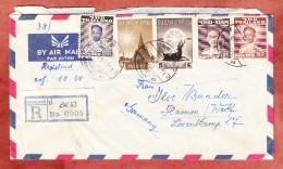 Luftpostbrief, Einschreiben Reco, MiF, Bangkok Nach Hamm Ca. 1957 (29264) - Thaïlande