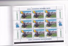ROMANIA TO NATO MEMBERSHIP 2004 MINISHEET X 9 STAMPS VERY RARE,MNH ** Mi.5806,BLOOKLET. - Carnets