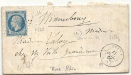 Bas Rhin- Seltz Pour Wissembourg - GC + CàD Type 15 - 1849-1876: Classic Period