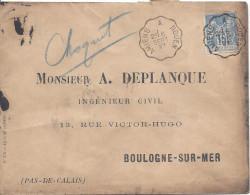 Convoyeur Ligne AMIENS A ROUEN 1897 Timbre 15c Sage Pour Boulogne Sur Mer - Bahnpost