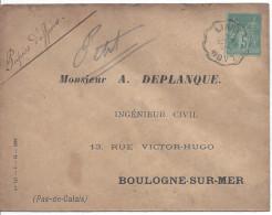 Convoyeur Ligne LIART A LAON 1895 Timbre 5c Sage Papier D'affaires - Marcophilie (Lettres)