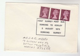1973 Dorking GB EVENT COVER Pmk  SURREY POSTBUS DORKING  To OCKLEY  Bus Stamps - Busses