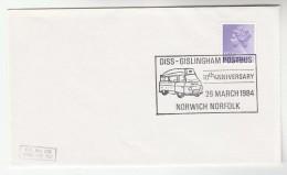 1984 Norwich GB EVENT COVER Pmk DISS GISLINGHAM POSTBUS Post Bus Stamos - Bussen
