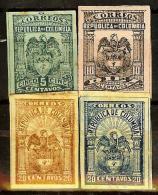 COLOMBIA 1902.04.15 [153f,154h,155d&156e-1] Escudo Tipos Diversos - 7a. Emision - Colombia