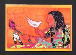 INDIENS AMÉRIQUE DU NORD - INDIENNE AVEC OISEAUX - INDIAN WITH BIRD - CARTE - VOEUX DE PAIX - 7 X 5 Po - 18 X 13 Cm - Indiens De L'Amerique Du Nord