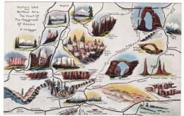 Rout 66 On Map Southwest USA Arizona & Utah, C1940s Vintage Linen Postcard - Route '66'