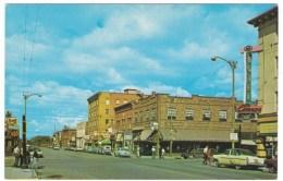 Laramie Wyoming, Grand Avenue Street Scene, Business District, Conor Hotel, Auto, C1950s Vintage Postcard - Laramie