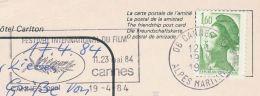 1984 FRANCE Stamps COVER (card) SLOGAN Pmk CANNES INTERNATIONAL FILM FESTIVAL Movie Cinema - Cinema
