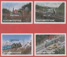 1984 BHUTAN Locomotives Scott: SS 428/431 Michel: Bl 106/109 Yvert: BF 101/104 - Bhoutan