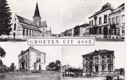 Groeten Uit Asse Gemeentehuis Stationsstraat Sint Martinus Kerk Olv Beroepsschool Kreuk - Asse