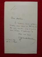 LETTRE AUTOGRAPHE LATOUR DUMOULIN - Autogramme & Autographen