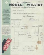Facture Ets Cicorée Mokta Williot à Poix Du Nord -Sablé Sur Sarthe Pour Bage Le Chatel Du 24 Aout 1931 - France