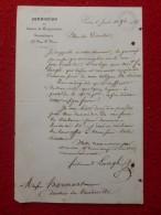 LETTRE AUTOGRAPHE FERDINAND LANGLE AUTEUR A HARMANT DIRECTEUR DU VAUDEVILLE - Autographs