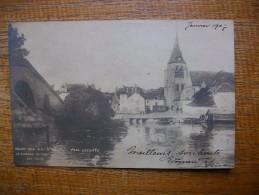 """Carte Assez Rare , Pont-sur-yonne , Le Clocher """""""" Peinture De Paul Lecomte """""""" Carte Animée """""""" 1907 """""""" - Pont Sur Yonne"""