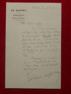 LETTRE AUTOGRAPHE ERNEST LEFEVRE FONDATEUR JOURNAL LE RAPPEL  1881 - Autographs