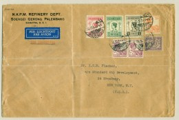 Nederlands Indië - 1934 - Fl 4,80 Frankering Op Zakelijke LP-brief Van Soengei Gerong Naar NY / USA - Nederlands-Indië