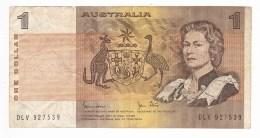 Australian One Dollar ($1) Paper Bank Note - Johnston/Stone - Serial DLV927539 - Circulated/Used - Emisiones Gubernamentales Decimales 1966-...