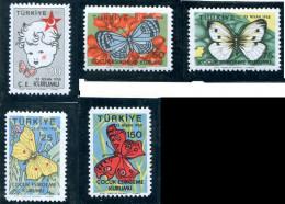 (cl. 34 - P. 7) Turquie * N° 235 à 239 - Papillons - - Honeybees