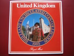 UK Great Britain 1985 7 Coin BUNC Set 1 Penny - 1£ Pound Royal Mint Sealed Pack - Mint Sets & Proof Sets