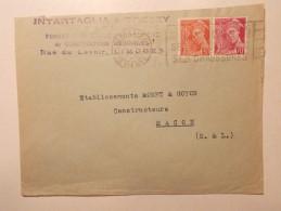 Marcophilie - Lettre Enveloppe Cachet Timbres Oblitération - FRANCE - LIMOGES  (144) - Lettres & Documents
