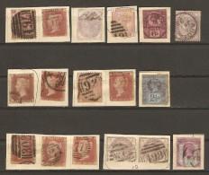 Grande Bretagne - 17 Timbres Anciens Victoria - Oblitérations Diverses - Marcophilie - Zonder Classificatie