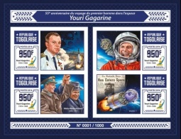 Togo 2016, Space, Gagarin, 4val In BF IMPERFORATED - Space