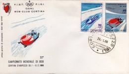 Italia 1966 Cortina D'Ampezzo FDC 32° Campionato Mondiale Di Bob Bobsleigh Annullo Su Busta Dedicata - Inverno