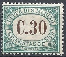 San Marino, 1897 Cifra In Bruno 10c Verde  # Yvert & T. 3 - Scott J3 - Sassone Tx3 - Nuovo * TL - Segnatasse