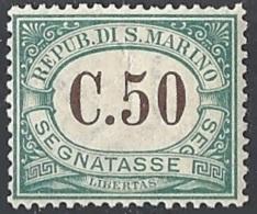 San Marino, 1897 Cifra In Bruno 50c Verde  # Yvert & T. 4 - Scott J4 - Sassone Tx4 - Nuovo * TL - Segnatasse