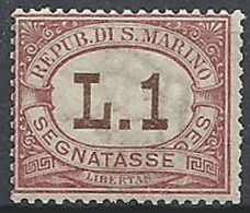 San Marino, 1897 Cifra In Bruno 1L Rosa  # Yvert & T. 6 - Scott J6 - Sassone Tx6 - Nuovo * TL - Segnatasse