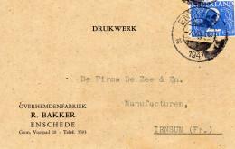1947 Firmakaartje Van ENSCHEDE Naar Irnsum Als Drukwerk - Periode 1891-1948 (Wilhelmina)