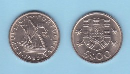 PORTUGAL  (República)  5 Escudos 1.983  Cu Ni KM#591  SC/UNC   DL-11.718 - Portugal