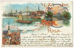 Gruss Aus Riga Litho  Used 1902 Russia Russian Church Envoi à Raphene Audincourt Doubs - Lettonie